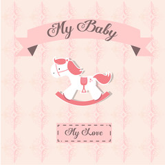 My baby illustration over color background