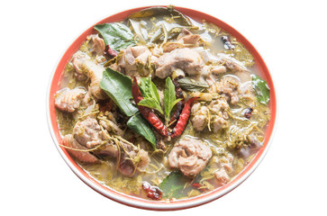 Spicy Sour Soup with Chicken and young tamarind leaf