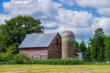 barn, silo, and corn, minnesota