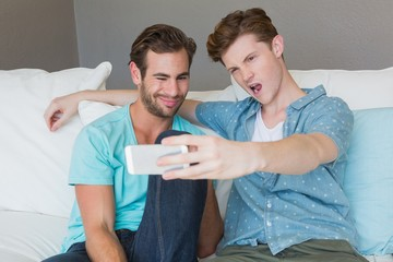 Cute homosexual couple taking a selfie on couch
