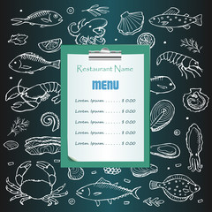 Restaurant seafood menu with hand drawn doodle elements
