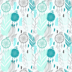 Dream catcher with feathers seamless pattern