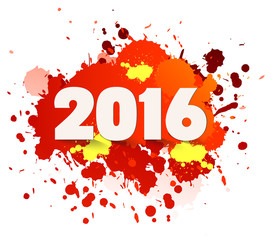 Happy new Year celebration 2016 with colorful spray paint template background