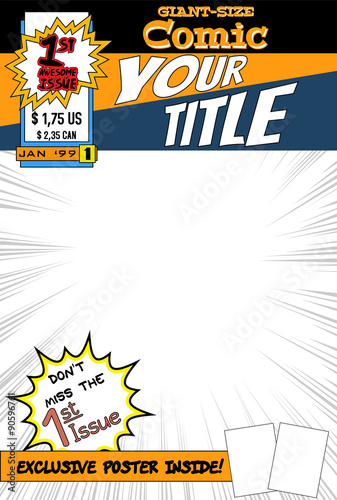 Editable Book Cover Template : Quot editable comic book cover with blank space stock image