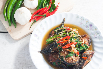Thai Food Spicy Cat Fish with vegetables (Pla Duk Pad Ped)