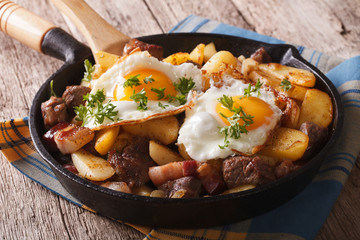 Tyrolean fried potatoes with meat, bacon and eggs in a pan. horizontal