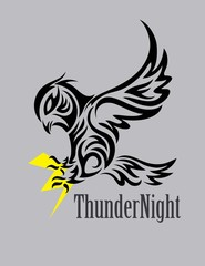 Owl with Thunder, art vector design