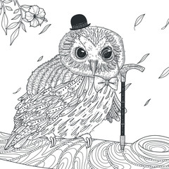 adorable owl coloring page