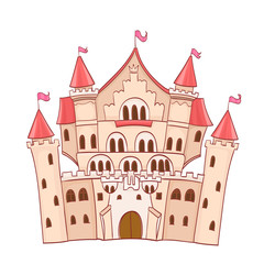 cute cartoon fairytale castle. vector drawing