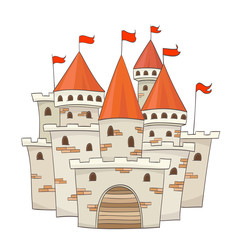 cute cartoon castle with flags. vector drawing