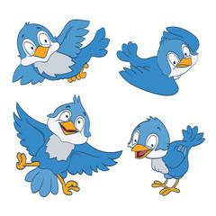 set of cartoon blue birds on white. vector