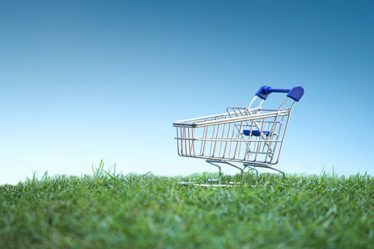 Trolley on green grass, Green Shopping concept