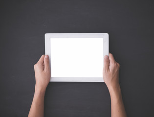 Hand using a tablet pc, mock up
