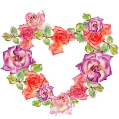 Roses in heart shape wreath