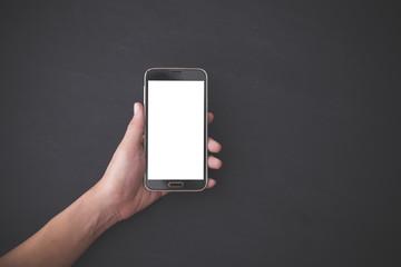 hand holding smartphone, mock up