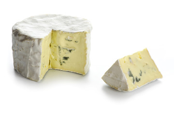 soft blue cheese from France isolated on white