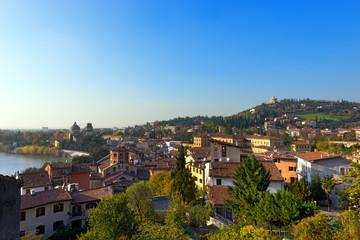 Cityscape of Verona - Italy / Panorama of the city of Verona with the Adige river seen from the hill. Verona (UNESCO world heritage site) - Veneto, Italy