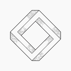 Impossible shape, square, line design