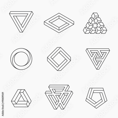 Line Optical Designer : Quot set of impossible shapes vector line design stock