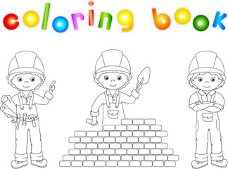 Construction workers in their uniform. Coloring book