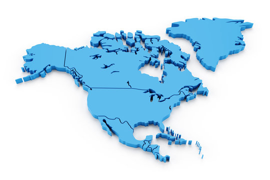 Extruded map of north america with national borders
