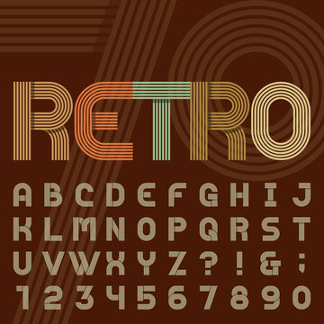 Retro style stripe alphabet vector font. Sans serif type funky letters, numbers and symbols in trendy design. Stock vector typography for headlines, posters in 70s style etc. Easy color change.