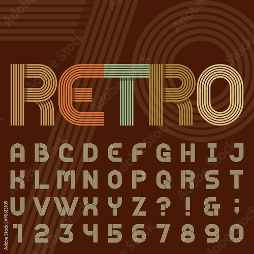 quot retro style stripe alphabet vector font sans serif type funky letters numbers and symbols in