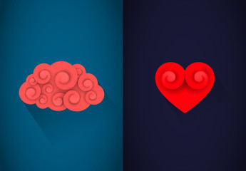 Heart and brain concept. Reason or heart