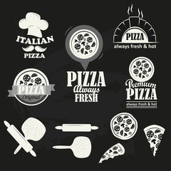 Italian Pizza logotypes set.
