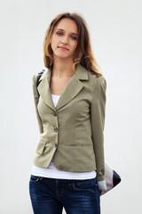 Happy young fashion woman with handbag
