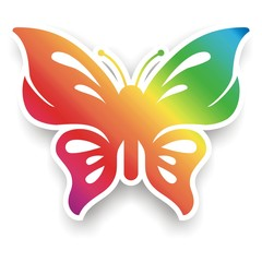 Rainbow Butterfly 3D Flat