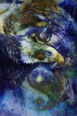 painting eagle with woman eye  abstract background and Yin Yang