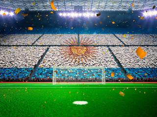 Flag Argentina  of fans. Evening stadium arena Blue