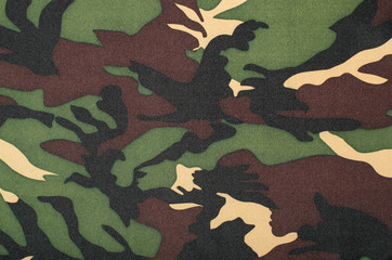 Camouflage pattern on fabric. Brown khaki black military print as background