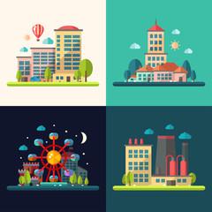 Modern flat design conceptual city illustrations