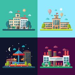 Set of modern flat design conceptual city illustrations