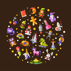 Illustration of fairy tales flat design magic icons and elements