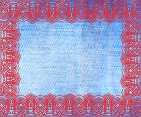 the blue jeans texture with lace for background
