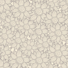 Illustration of seamless hand-drawn floral pattern for your