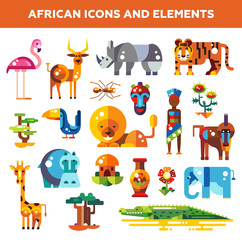 Set of flat design african icons and infographics elements with