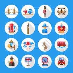 Set of flat design England travel icons, infographics elements