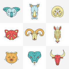 Set of animals linear flat icons, labels, illustrations for your