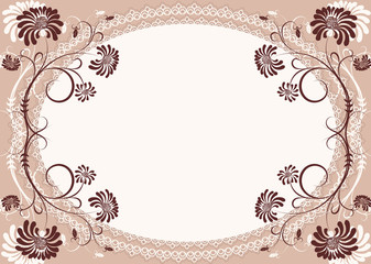 Vector floral background with decor frame for text