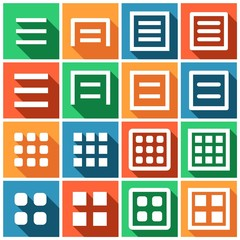 Set of flat simple web icons (menu, website, smartphone), vector illustration