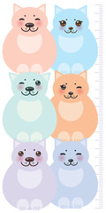 set funny cats, pastel colors  on white background Children