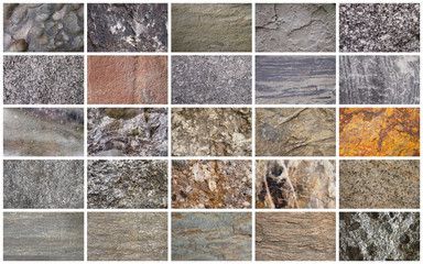 Collage of various stone types.