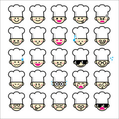 Collection of difference emoticon icon of chef cartoon on the wh