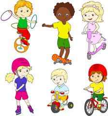 Children riding unicycle, bicycle and scooter, rollerblading and