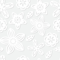 Seamless pattern with paper flowers.