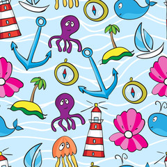 Seamless sea pattern: whale, boat, island, anchor, octopus, jell